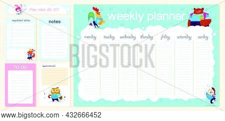 Set Of Weekly & Daily Planner Page Design Template For Children Calendar. Cute Hand Drawn School Ani