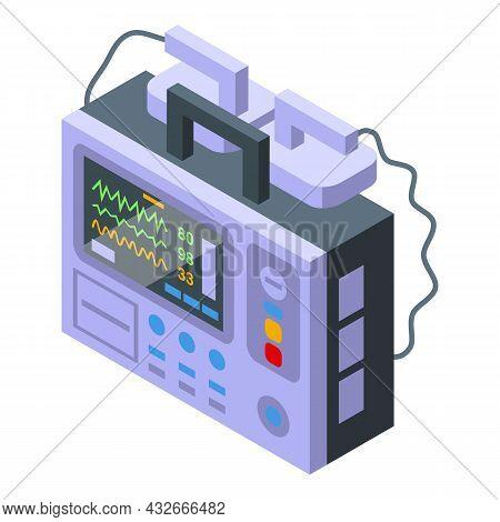 Shock Defibrillator Icon Isometric Vector. Heart Aed. Cardiac Cpr