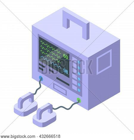 Arrhythmia Defibrillator Icon Isometric Vector. Pacemaker Device. Cardiac Emergency