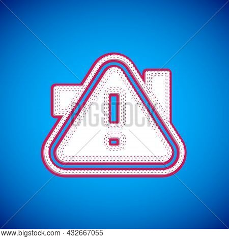 White Exclamation Mark In Triangle Icon Isolated On Blue Background. Hazard Warning Sign, Careful, A