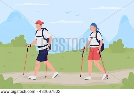 Trekking Flat Color Vector Illustration. Backpackers On Road. Recreational Activity For Weekend. Boy
