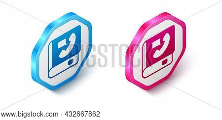 Isometric Phone Book Icon Isolated On White Background. Address Book. Telephone Directory. Hexagon B