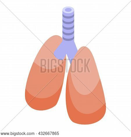Lungs Bioprinting Icon Isometric Vector. Medical Science. Biotechnology Organ
