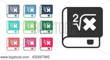 Black Book With Word Mathematics Icon Isolated On White Background. Math Book. Education Concept Abo