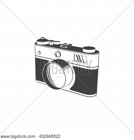 Vintage Photo Camera Silhoutte On White Background. Vector Illustration. Retro Film Camera That Had