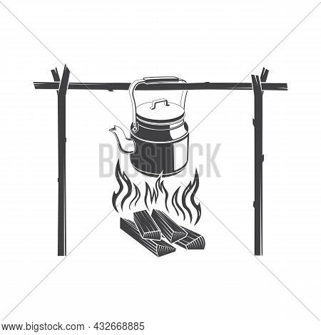 Vintage Coffee Pot On Camping Fire Silhoutte Vector Illustration. Wonderful Evening Atmospheric Back