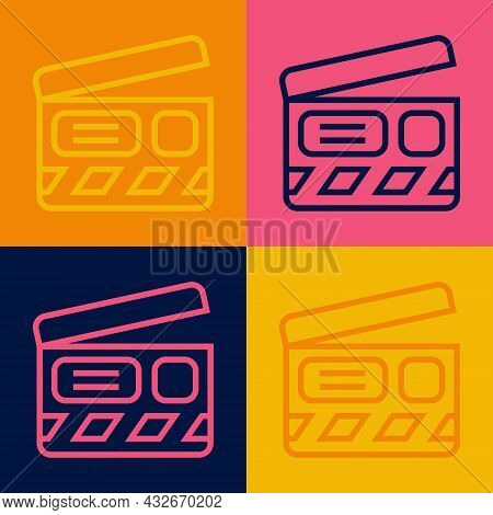 Pop Art Line Movie Clapper Icon Isolated On Color Background. Film Clapper Board. Clapperboard Sign.