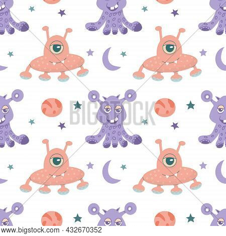 Seamless Pattern Of Alien Cute Monsters And Various Planets And Galactic Stars. Vector Flat Illustra