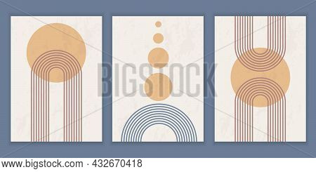 Set Of Abstract Posters With Geometric Shapes And Lines. Rainbow Print And Sun Circle, Boho Style. T