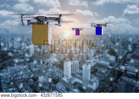 New Hi Technology Multicopper Drone Under Flying With Package Over The Cityscape For Shipment Innova