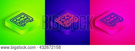 Isometric Line Computer Monitor With Cardiogram Icon Isolated On Green, Blue And Pink Background. Mo