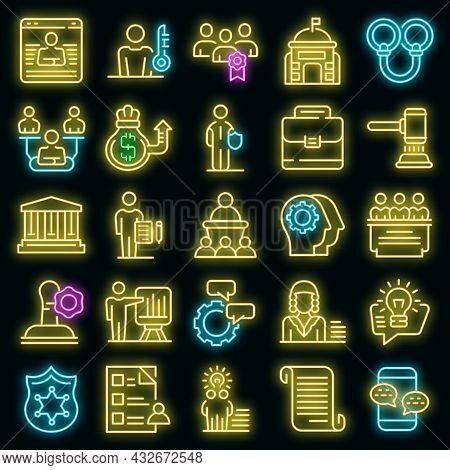 Authority Icons Set. Outline Set Of Authority Vector Icons Neon Color On Black