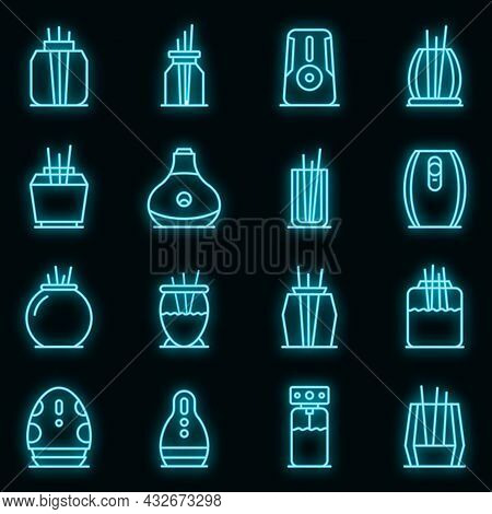 Air Freshener Icons Set. Outline Set Of Air Freshener Vector Icons Neon Color On Black
