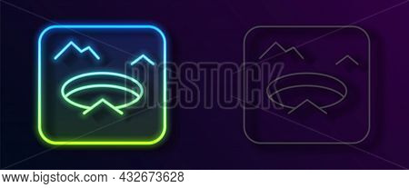 Glowing Neon Line Winter Fishing Icon Isolated On Black Background. Round Ice Frame. Hole In Ice. Ve