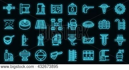 Equipment For Pool Icons Set. Outline Set Of Equipment For Pool Vector Icons Neon Color On Black