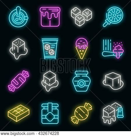 Salted Caramel Icons Set. Outline Set Of Salted Caramel Vector Icons Neon Color On Black