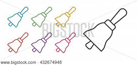 Set Line Ringing Bell Icon Isolated On White Background. Alarm Symbol, Service Bell, Handbell Sign,