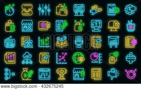 Marketing Mix Icons Set. Outline Set Of Marketing Mix Vector Icons Neon Color On Black