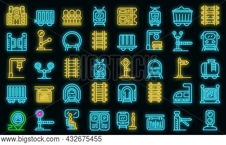 Railway Platform Icons Set. Outline Set Of Railway Platform Vector Icons Neon Color On Black