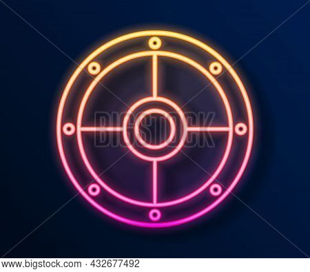 Glowing Neon Line Round Wooden Shield Icon Isolated On Black Background. Security, Safety, Protectio