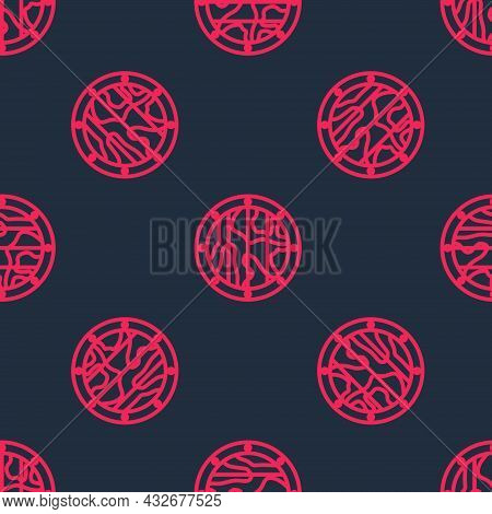 Red Line Round Wooden Shield Icon Isolated Seamless Pattern On Black Background. Security, Safety, P