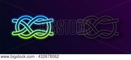 Glowing Neon Line Nautical Rope Knots Icon Isolated On Black Background. Rope Tied In A Knot. Vector