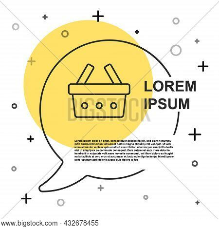 Black Line Shopping Basket Icon Isolated On White Background. Online Buying Concept. Delivery Servic