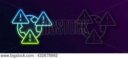 Glowing Neon Line Planet Earth Symbol With Exclamation Mark Icon Isolated On Black Background. Globa