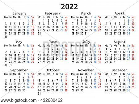2022 Calendar, English, Europe. Vector Compact Annual Wall Or Planner Template For A4 Or A5 Paper Si