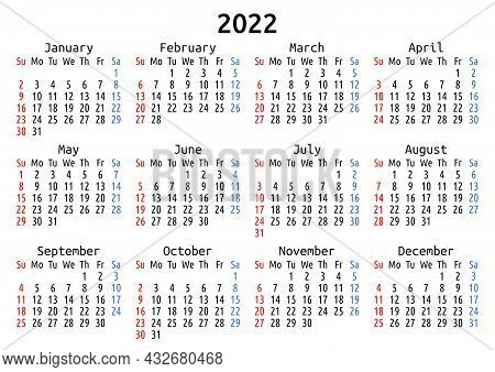 2022 Calendar, English, America. Vector Compact Annual Wall Or Planner Template For A4 Or A5 Paper S
