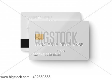 Front Side Of White Plastic Card Isolated On White Background. 3d Rendering Illustration.