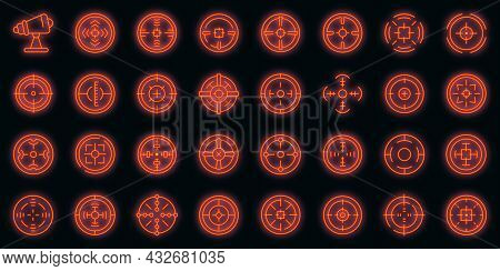 Telescopic Sight Icons Set. Outline Set Of Telescopic Sight Vector Icons Neon Color On Black