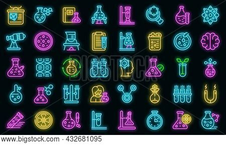 Research Scientist Icons Set. Outline Set Of Research Scientist Vector Icons Neon Color On Black