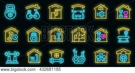 Home Gym Icons Set. Outline Set Of Home Gym Vector Icons Neon Color On Black