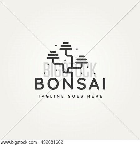 Bonsai Tree Traditional Plant Typography Minimalist Line Art Logo Icon Template Vector Illustration