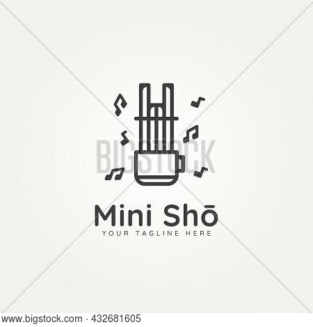 Mini Sho Japanese Classical Music Instrument With Melody Minimalist Line Art Logo Icon Template Vect