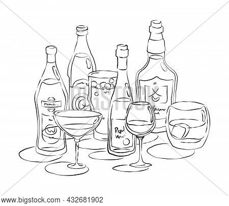 Bottle And Glass Beer Vermouth Wine Whiskey Together In Hand Drawn Style. Beverage Outline Icon. Res