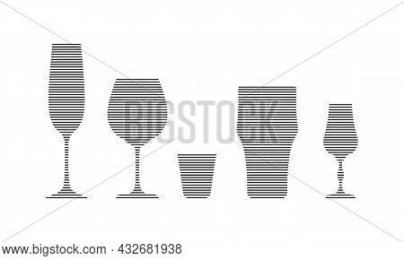 Champagne, Wine, Vodka, Beer And Liquor Glass In Minimalist Linear Style. Silhouette Of Glassware Pe