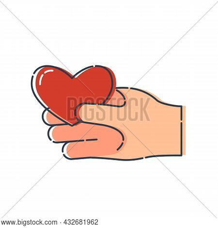 Red Shape Heart In Human Hand On White Background. Modern Illustration. Simple Object In Flat Style,