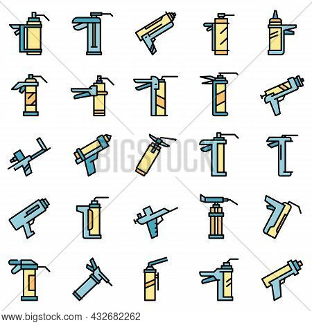 Silicone Caulk Gun Icons Set. Outline Set Of Silicone Caulk Gun Vector Icons Thin Line Color Flat Is