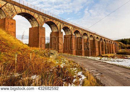 The Old Victorian Red Brick Big Water Of Fleet Railway Viaduct, Cairnsmore Of Fleet National Nature