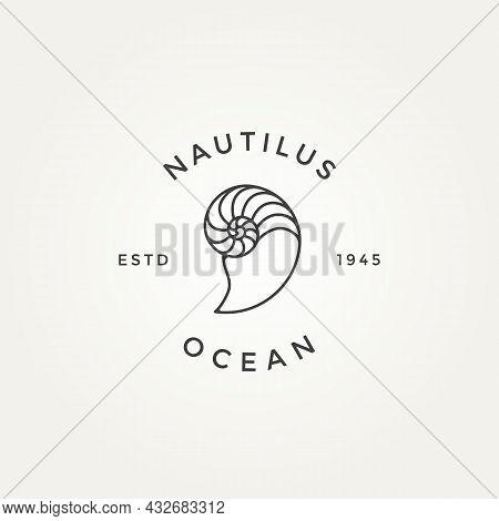 Nautilus Seashell Minimalist Line Art Badge Logo Icon Template Vector Illustration Design. Simple Mo