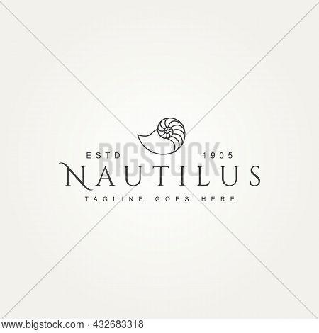 Nautilus Minimalist Line Art Badge Logo Icon Template Vector Illustration Design. Simple Modern Ammo