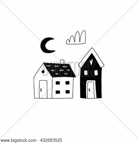 Cozy Home. Cute Little Forest Houses In Night, Moon And Cloud, Hand Drawn Doodle Scandinavian Style,