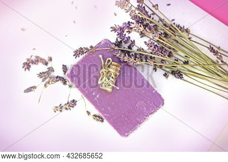 Homemade, Handmade Lavender Soap And Lavender Flower On Table