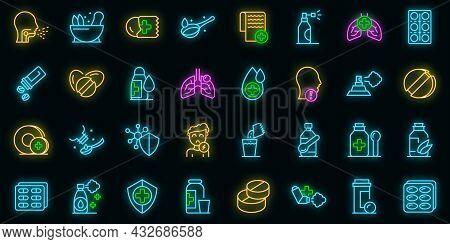 Cough Drops Icons Set. Outline Set Of Cough Drops Vector Icons Neon Color On Black