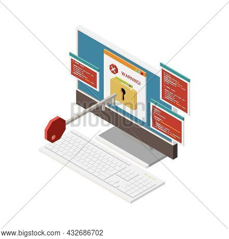 Isometric Hacking Password Stealing Icon With 3d Computer Key And Warning Notification Vector Illust