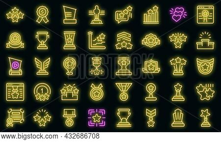 Ranking Icon. Outline Ranking Vector Icon Neon Color On Black