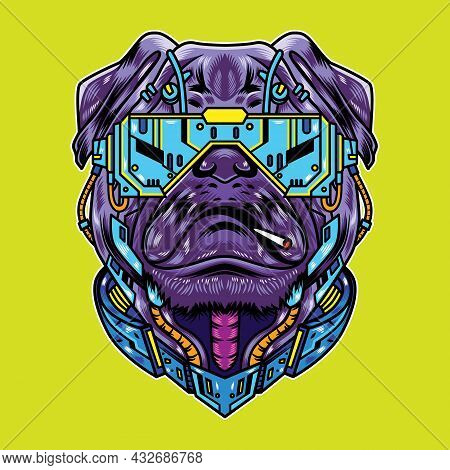Vector Illustration Of Pug Dog With Cool Futuristic Cyberpunk Cartoon Style In Isolated Background.