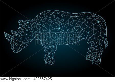 Beautiful Starry Low Poly Illustration With Stylized Colorful Blue Shiny Rhinoceros Silhouette On Th